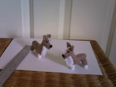 2 hand knitted brown dogs - toy or gift
