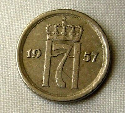 1957 Norway 10 Ore Coin