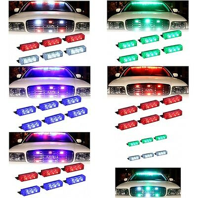 LED Emergency Vehicle Grill Warning Police Officer Cops Fire Fighter Truck Light