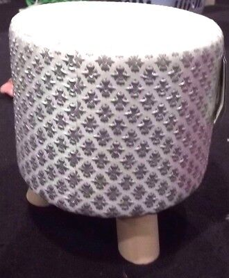 Silver/white Diamante Bling Footstool Rest Pouffe Seat New