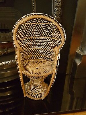 vintage small peacock wicker chair for teddy/doll  display