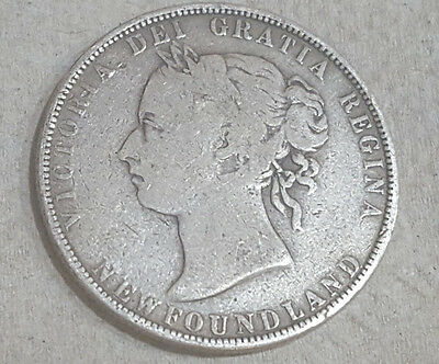 1896 Canada Newfoundland STERLING SILVER 50 Cents Coin – No Reserve - Lot#003