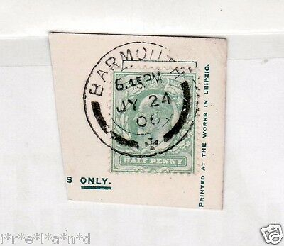 Edward VII Green Halfpenny Postage Stamp on card Postmarked in Wales 1906