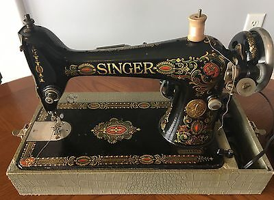 Vintage Singer Sewing Machine Model 66  'Red Eye' 1924 Electric Portable w/case