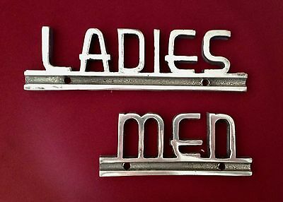 1920's 30's Deco Restroom Cast Metal Signs Ladies Men Theater Gas Station Diner