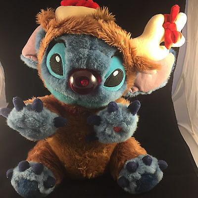 "Reindeer Stitch 14"" Plush Doll Walt Disney World RARE Lilo & Stitch Rudolph"