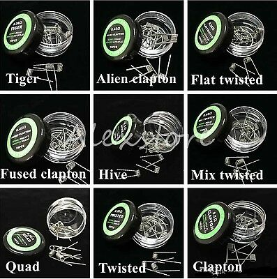 10 X Clapton Alien Hive Tiger Quad Fused Twisted Prebuilt Ready Rda Coils Uk