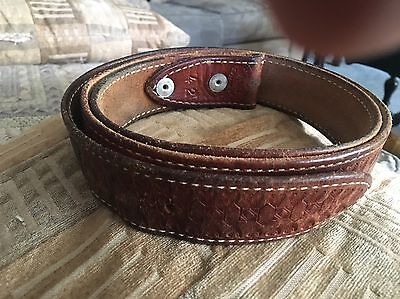 Philmont Scout Ranch Hand Tooled Leather Belt  Size 42. 1 1/2 Wide