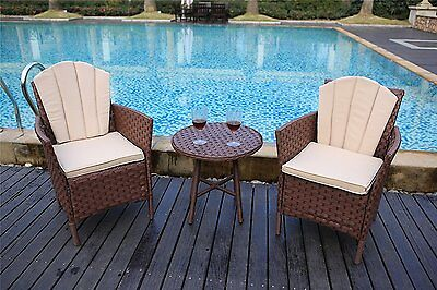 Garden Bistro Furniture Rattan Chairs Table Patio Cafe Set Outdoor Brown