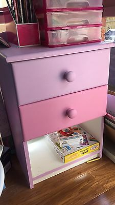 Kids Bedside Table / Drawers X2 Wooden - Can Be Repainted