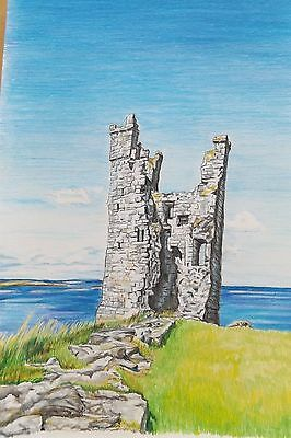 Limited Edition A4 colour print of Lilburn Tower, Dunstanburgh Castle drawing