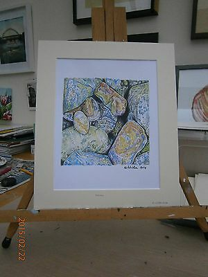 Mounted Limited edition colour print of still life drawing of stones