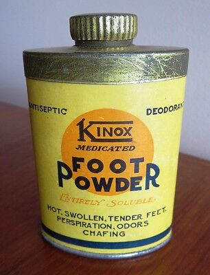 Kinox Foot Powder Tin Unopened made in Rutland VT Advertising Medicine Can