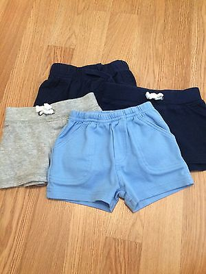 Carter's Old Navy 0-3 3 Month Lot Of 4 Shorts Navy Blue Gray Cotton Casual