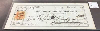 Post Civil War Obsolete Check -  1870's Bunker Hill National Bank Charlestown MA