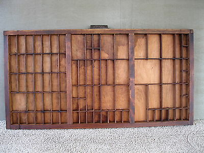 Antique Type Tray HAMILTON Primitive Printers' Shadow Box Drawer, 87 Sections