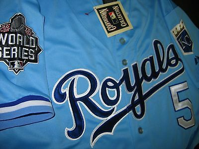competitive price d02c0 7370d KANSAS CITY ROYALS #5 George Brett Throwback World Series 2patch SEWN  Jersey LG