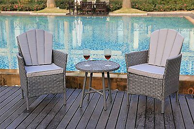 Garden Bistro Furniture Rattan Chairs Table Patio Cafe Set Outdoor Grey