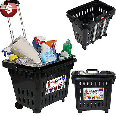 Mesh Rolling Shopping Cart Bag Portable Grocery Laundry Carrier Basket On Wheels