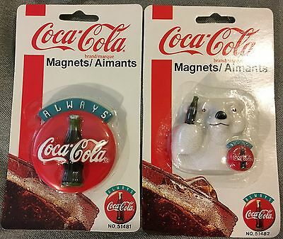 "2  Coca-Cola Refrigerator Magnets  ""Always Coca-Cola"" and Polar Bear & Sign  NEW"