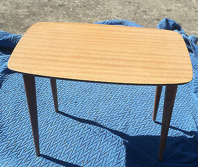 Cute Retro Small Timber Laminated Table Mid 20th C Tapered LEgs