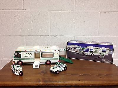 New In Box 1998 HESS Collectible RV With Motorcycle And Dune Buggy And Bag