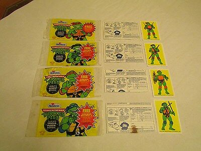 Hostess TMNT Ninja Pudding Pie Wrappers, Pie Backing & Stickers