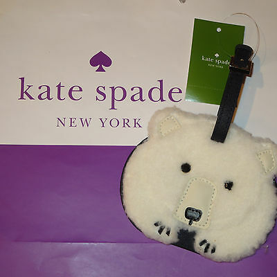 Kate Spade Cold Comforts White Furry Polar Bear Leather Luggage Tag-Sold Out!