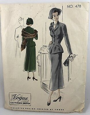 1940s 1949 Vogue Couturier Sewing pattern 478 Suit Bust 32