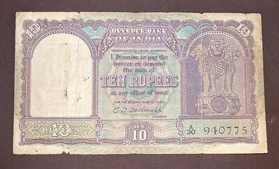 Republic India - 10 Rs - 1st Issue - C.D Deshmukh - Only English - Extra Rare