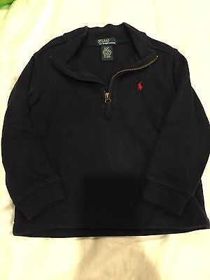 Polo Ralph Lauren Toddler Boy Size 3T Navy Blue 1/2 Zip Pullover Sweater