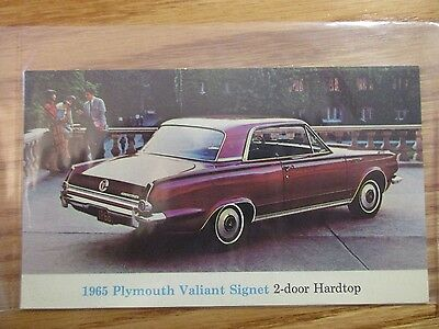 * 1965 Plymouth Valiant Signet Hardtop Postcard Original Excellent Condition