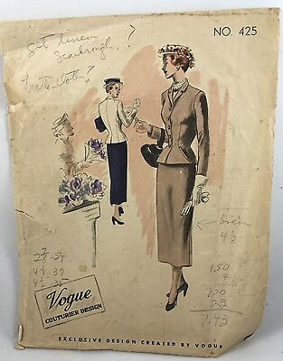 1940s1948  Vogue Couturier Special Sewing Pattern 425 Suit Bust 36