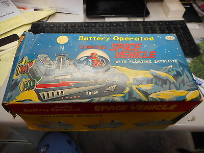 Vintage Modern Toys Battery Operated Lighted Space Vehicle With Original Box