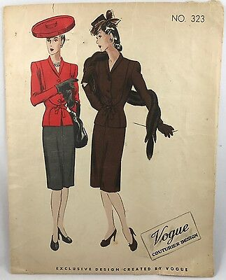 1940s Vogue Couturier Sewing pattern 323 Suit Bust 36