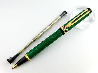 "Waterman LE-MAN 100 ""GREEN-marble Lacquer"" Ballpoint Pen BEAUTIFUL!! New refill"