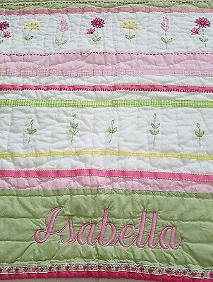 POTTERY BARN KIDS Girls Crib QUILT Pink & Green *ISABELLA* Flower Daisy Garden