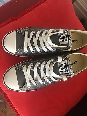 BNWOT Converse All Star leather low rise. Grey leather. sz 37.5