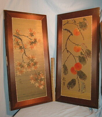 Pr traditional Vtg Japanese Silk ScreenPaintings Leaves & Fruit Japan Wall Art