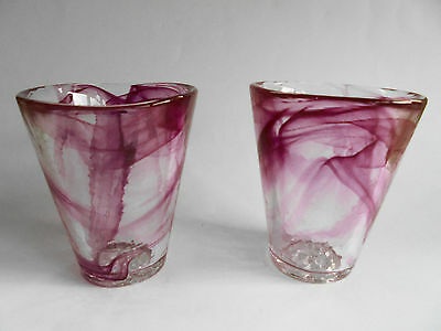 Pair Of Kosta Boda Swedish Art Glass Cranberry Pink Mine Tumblers Signed Vallien
