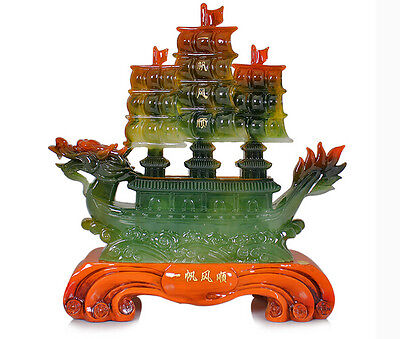 Huge Chinese Hand Carved imitate Jade Dragon Incense statue Dragon Boat