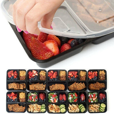 Plastic 3 Compartment Food Storage Containers Meal Lunch Box Dishwasher