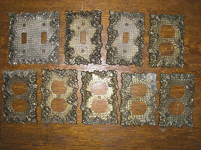 9 Vintage Outlet Light Switch Covers Rose Flower Metal Brass?