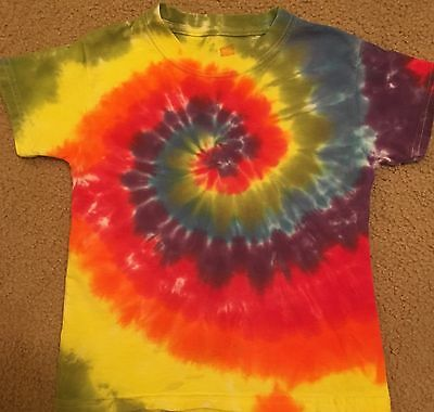 Tie Dye Child T-shirt Multi color size Youth XS 2-4 Hanes Short Sleeve