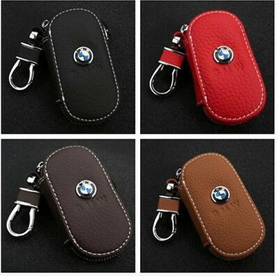 NEW Genuine BMW Leather Car Key Holder Keychain Ring Case Bag 4colors