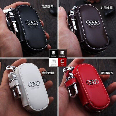 NEW Genuine Audi Leather Car Key Holder Keychain Ring Case Bag 4colors