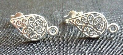 Sterling silver filigree post earrings studs with loop jewelry supplies finding