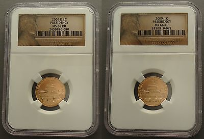 2009 P & D Set 1C Presidency Lincoln Cent Ms66 Ngc Lp4 Red