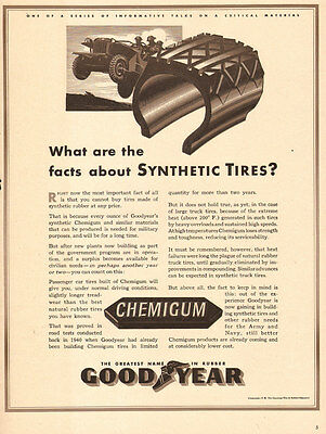 1942 WW2 AD GOODYEAR CHEMIGUM Synthetic Rubber Tires Military Jeep 031116