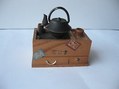 Japanese Miniature Furniture Tansu Chest of Drawers & Iron Tea Kettle from Japan